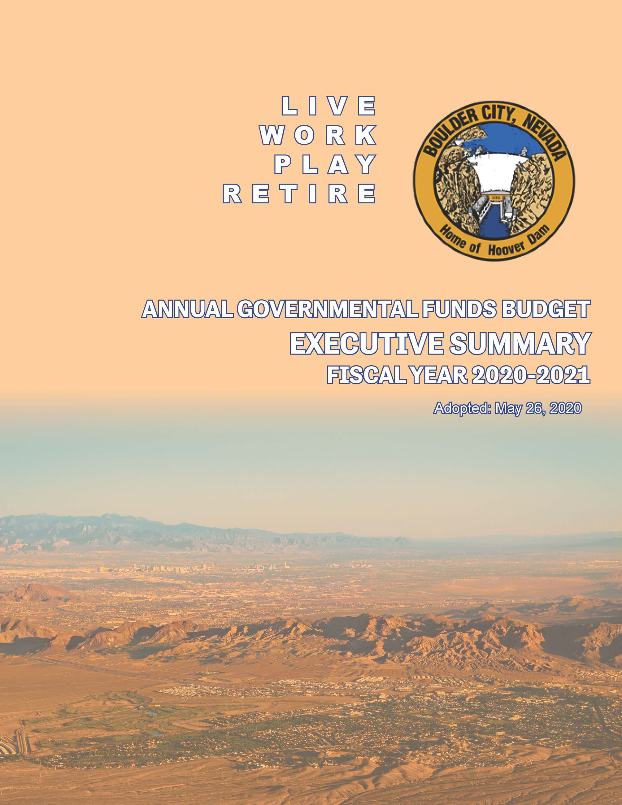FY21 GF Budget Executive Summary - cover page